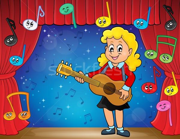 Meisje gitarist fase glimlach gitaar kind Stockfoto © clairev