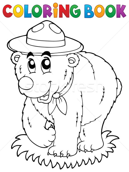 Coloring book happy scout bear Stock photo © clairev