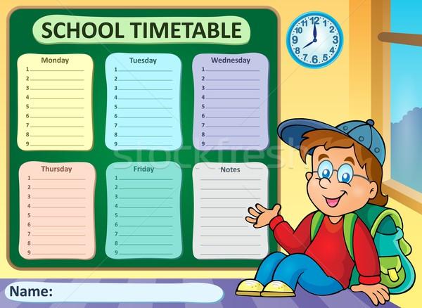 Hebdomadaire école calendrier sourire étudiant table Photo stock © clairev