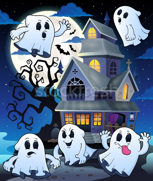 Ghosts near haunted house theme 5 Stock photo © clairev