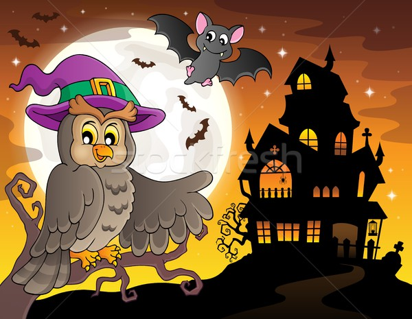 Owl near haunted house theme 2 Stock photo © clairev