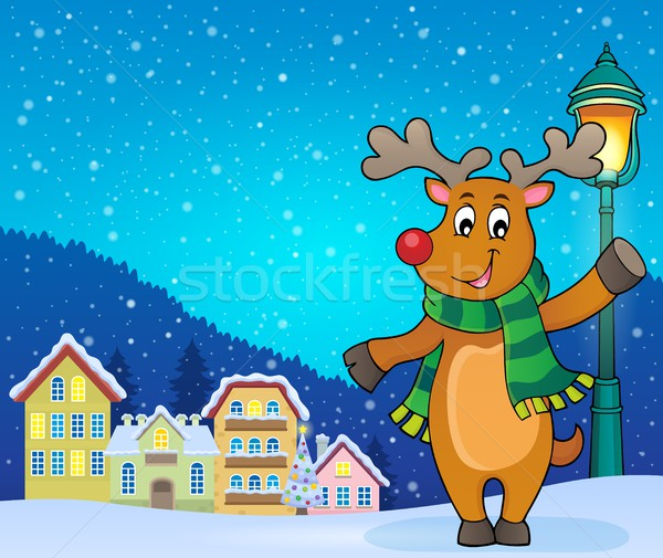 Stylisé Noël cerfs image maison heureux Photo stock © clairev