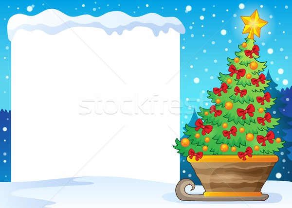 Snowy frame and Christmas tree on sledge Stock photo © clairev