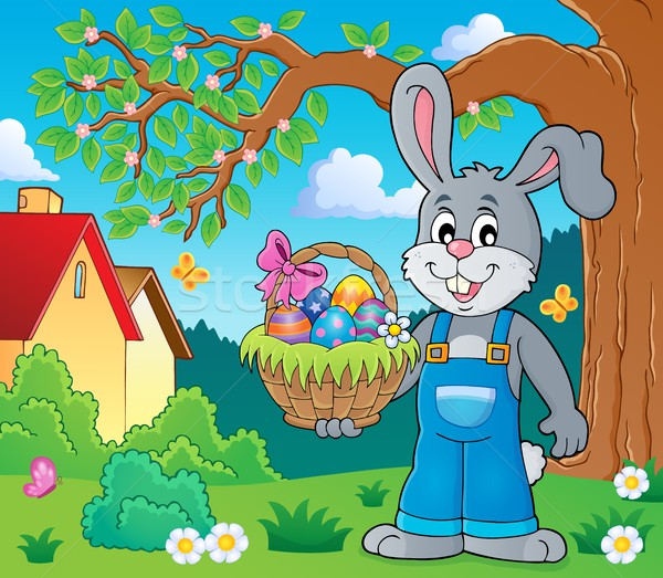 Bunny holding Easter basket theme 2 Stock photo © clairev