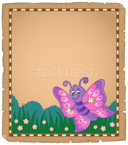 Parchment with happy butterfly theme 1 Stock photo © clairev