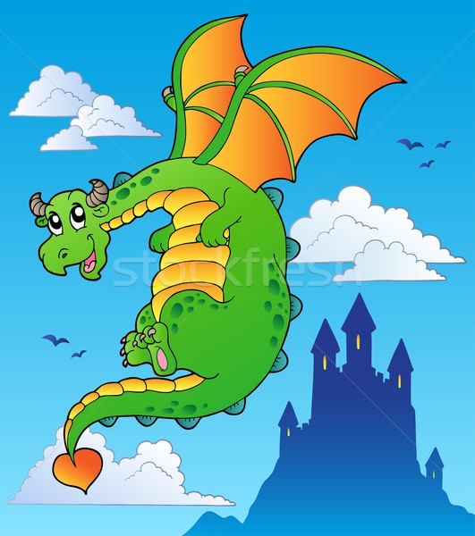 Voador conto de fadas dragão castelo céu sorrir Foto stock © clairev