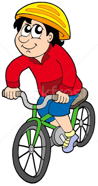 Cartoon cycliste blanche enfant sport garçon Photo stock © clairev