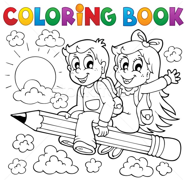 Coloring book pupil theme 3 Stock photo © clairev