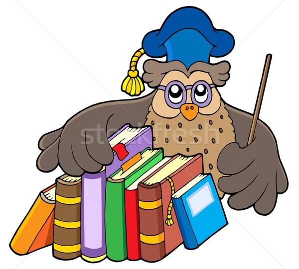 Foto stock: Coruja · professor · livros · livro · estudante