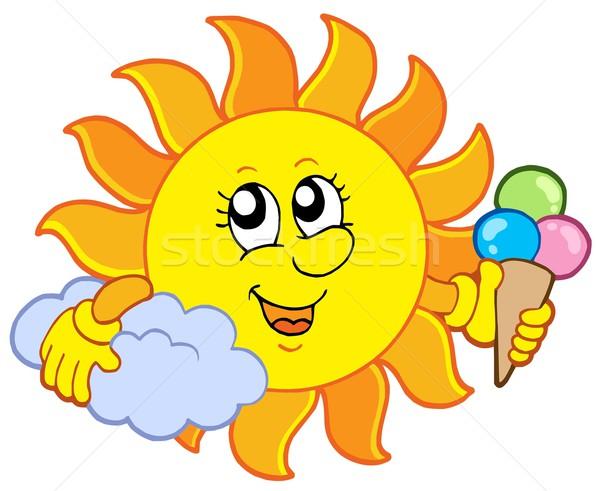 Stockfoto: Zon · icecream · gelukkig · natuur · zomer · snoep