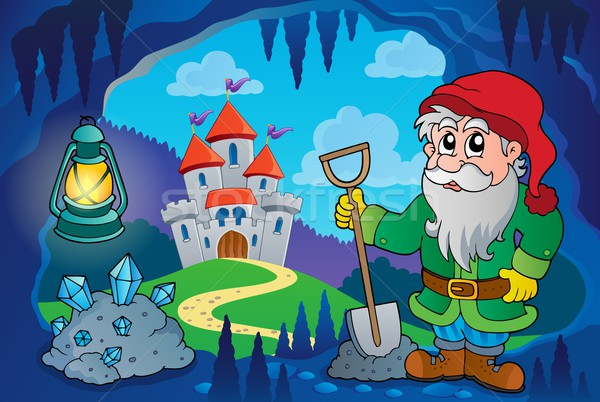 Dwarf in fairy tale cave Stock photo © clairev