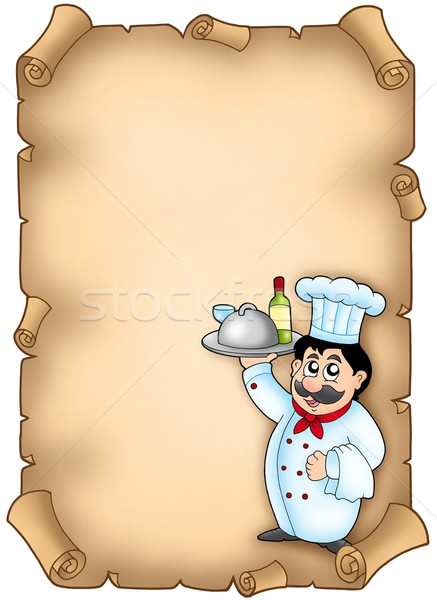 Chef holding meal on parchment Stock photo © clairev