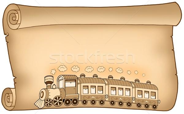 Foto stock: Pergamino · tren · color · ilustración · papel · arte