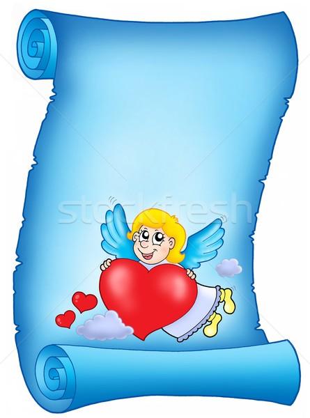 Valentin nap kék levél repülés szín illusztráció Stock fotó © clairev