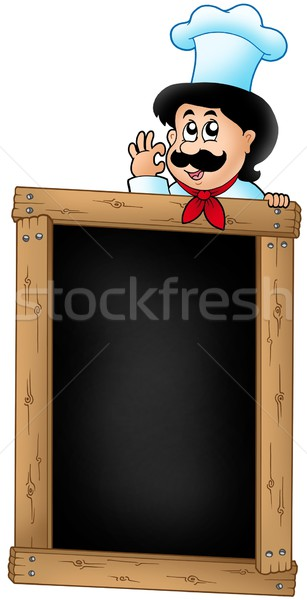Wooden blackboard with cartoon chef Stock photo © clairev