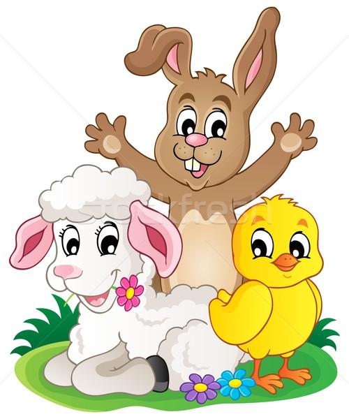ストックフォト: 春 · 動物 · 画像 · 幸せ · 鶏 · バニー