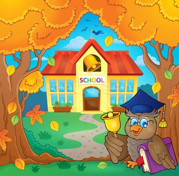 Owl teacher near school building theme 1 Stock photo © clairev
