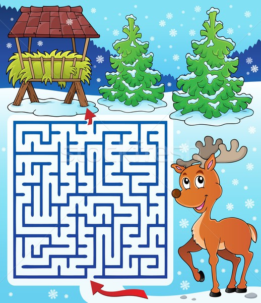 Maze 3 with hay rack and reindeer Stock photo © clairev