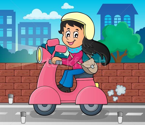 девушки Motor изображение женщину улыбка Сток-фото © clairev