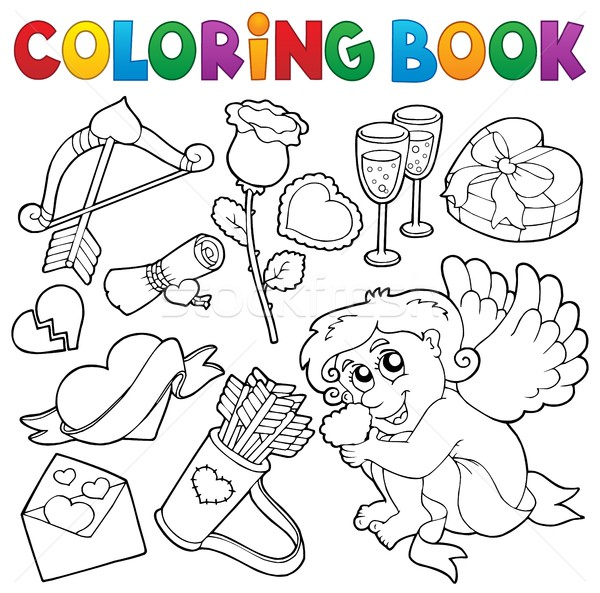 Coloring book Valentine theme 5 Stock photo © clairev