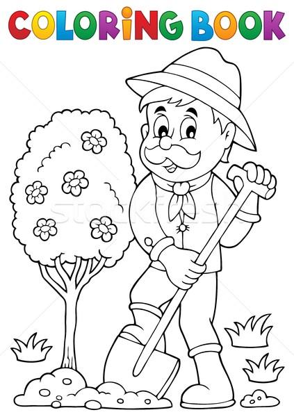 Livre de coloriage jardinier arbre livre heureux Photo stock © clairev
