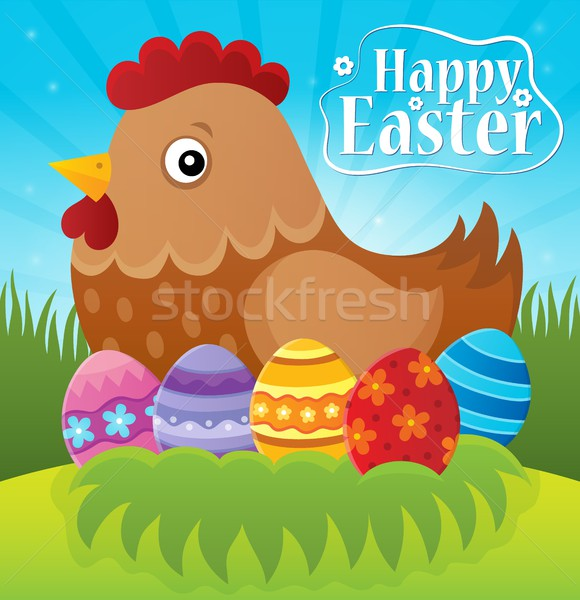 Feliz pascua gallina huevos hierba arte signo Foto stock © clairev