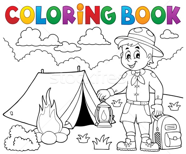 Kifestőkönyv felderítő fiú mosoly könyv gyermek Stock fotó © clairev