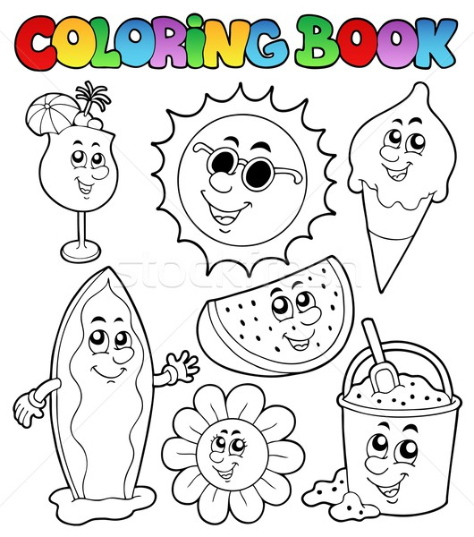 Stockfoto: Kleurboek · zomer · foto's · boek · verf · glas