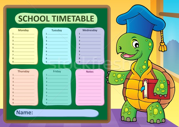 Weekly school timetable template 1 Stock photo © clairev