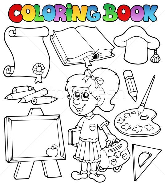 Coloring book school topic 2 Stock photo © clairev