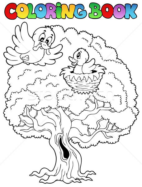 Stock photo: Coloring book big tree with birds