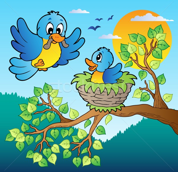 Two blue birds with tree branch Stock photo © clairev