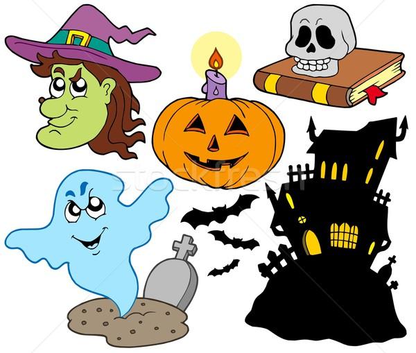 Stockfoto: Halloween · gezicht · licht · schedel