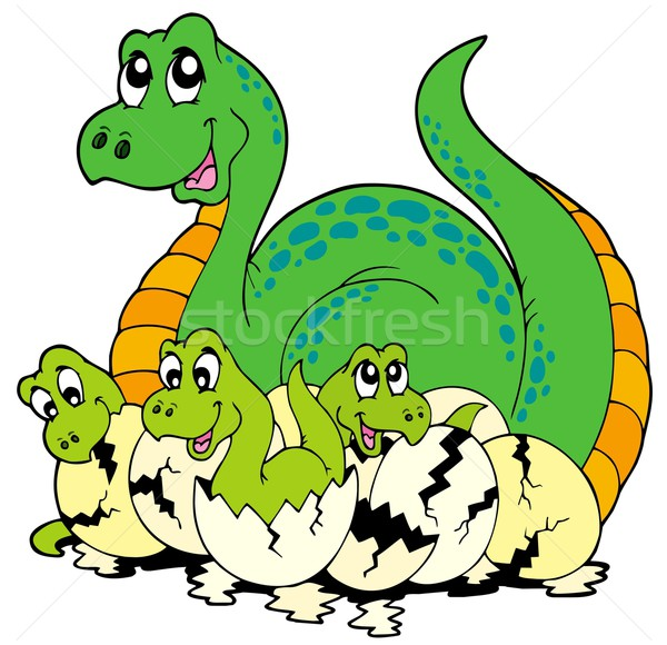 Dinosaur mom with cute babies Stock photo © clairev