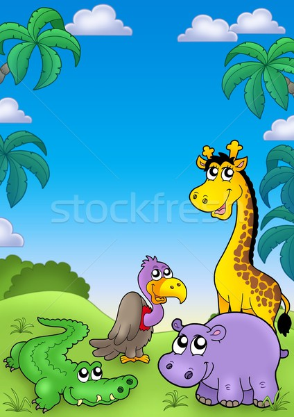 African landscape with cute animals Stock photo © clairev