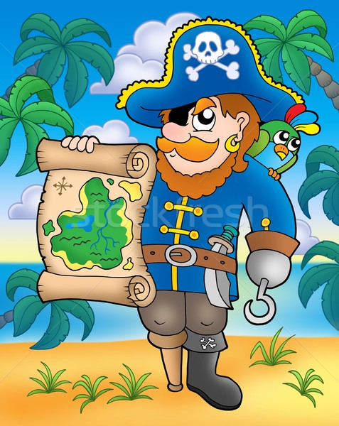 Pirate with treasure map on beach Stock photo © clairev