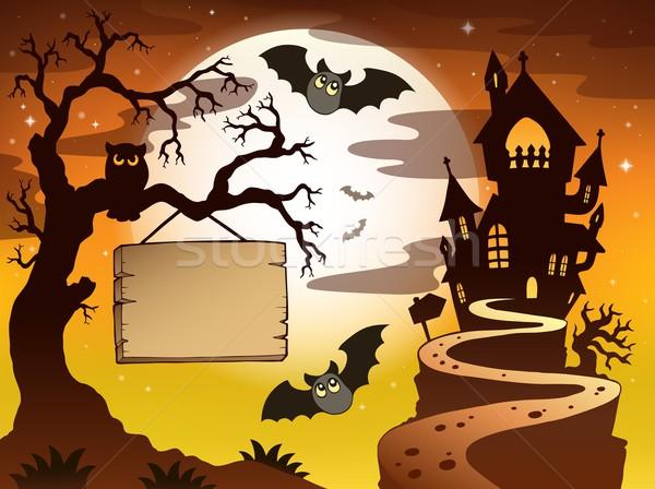 Theme with Halloween silhouette 3 Stock photo © clairev