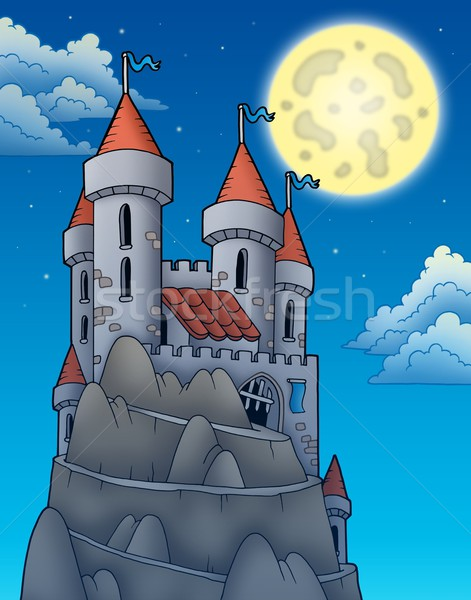 Night view on castle on rock Stock photo © clairev
