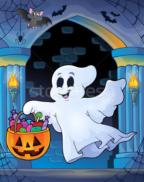 Wall alcove with Halloween ghost Stock photo © clairev