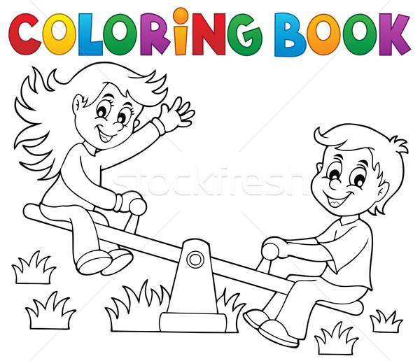 Libro da colorare bambini altalena ragazza sorriso libro Foto d'archivio © clairev