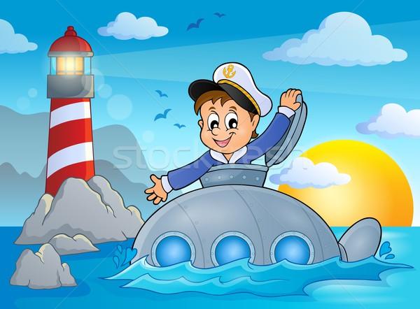 подводная лодка моряк изображение воды улыбка закат Сток-фото © clairev