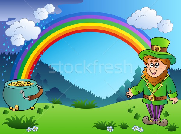Meadow with rainbow and leprechaun Stock photo © clairev