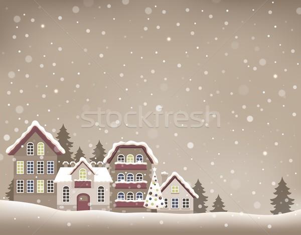стилизованный Рождества деревне изображение дерево дизайна Сток-фото © clairev