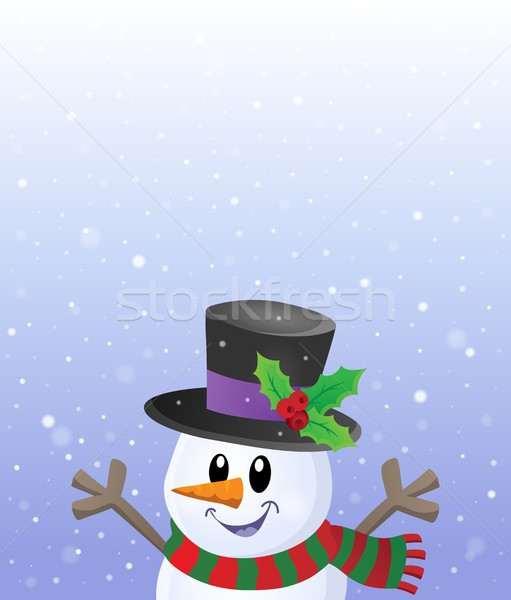 Lurking snowman in snowy weather theme 2 Stock photo © clairev