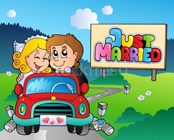 Just married couple driving car Stock photo © clairev