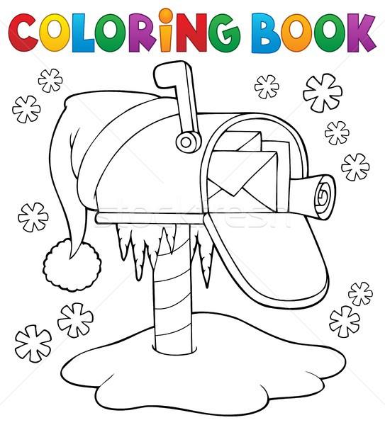 Libro da colorare Natale mailbox libro arte inverno Foto d'archivio © clairev