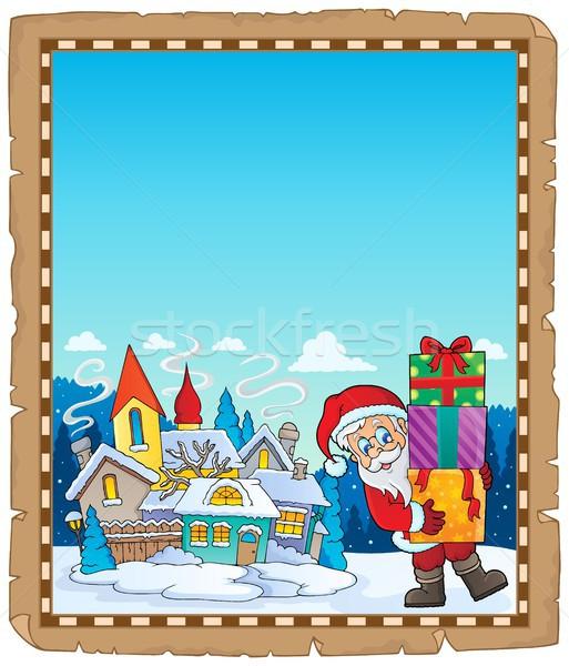 Santa Claus near village parchment 2 Stock photo © clairev