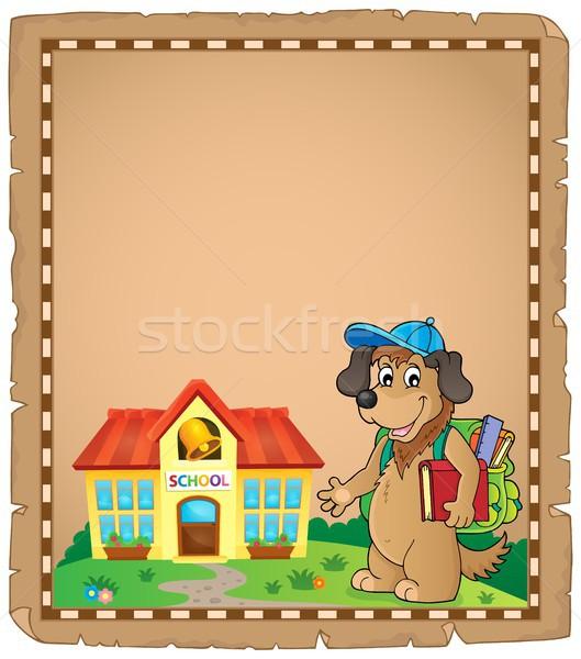 Szkoły psa pergamin papieru wiosną sztuki Zdjęcia stock © clairev