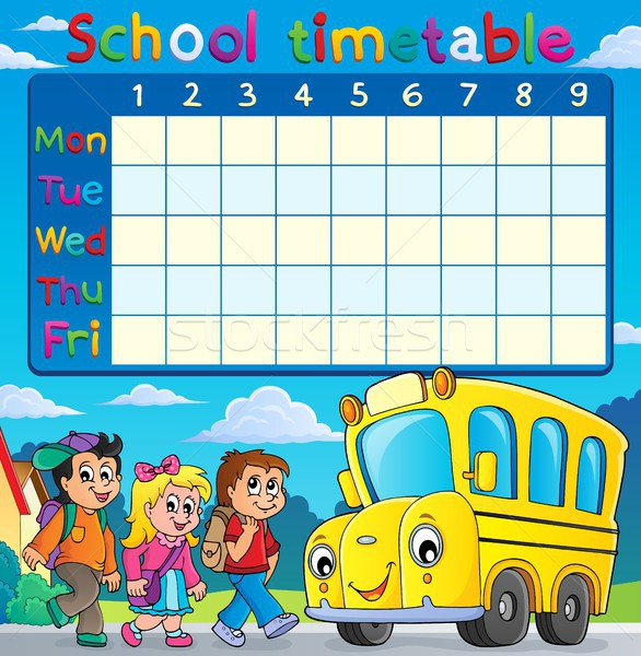 School timetable with children and bus Stock photo © clairev