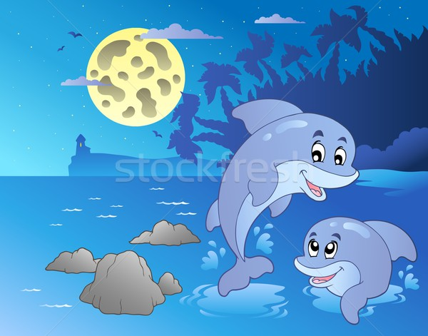 Night seascape with happy dolphins Stock photo © clairev